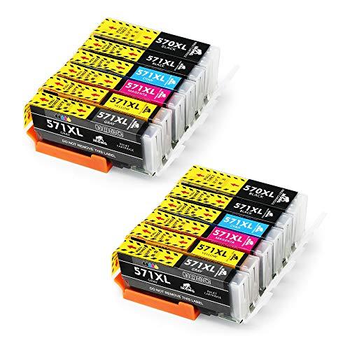 IKONG PGI-570XL CLI-571XL Compatibile per Canon PGI-570 CLI-571 Cartucce Piena Lavora con Canon PIXMA TS8050 TS8051 TS8052 TS8053 TS9050 TS9055 MG7700 MG7751 MG7750 (2 PGBK, 2BK,2C,2M,2Y, 2 Grigio)