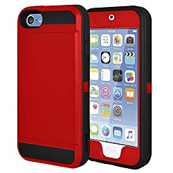 Amzer Full Body Hybrid Credit Card Case with Holster for iPod Touch 5th Gen, iPod Touch 6th Gen - Red/ Black