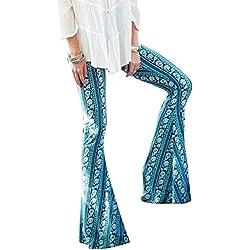 Mujer Pantalones bootcut Pantalones acampanados Pantalones Marlene de cintura alta Estampado de flores pantalones casuales Desgaste festivo de la tarde Partywear Juleya