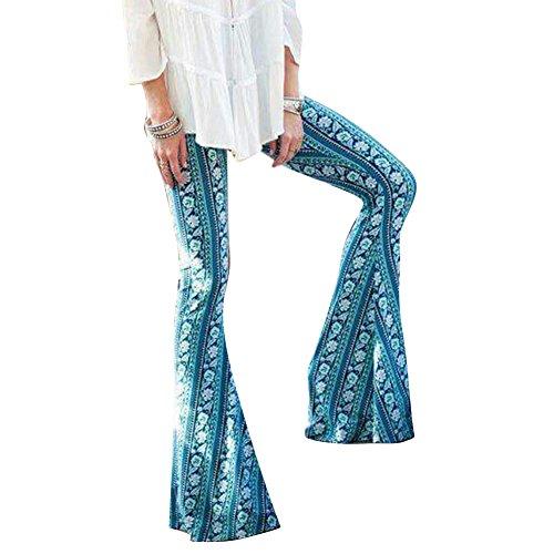 Juleya Mujer Pantalones Bootcut Pantalones Acampanados Pantalones Marlene de Cintura Alta Estampado...