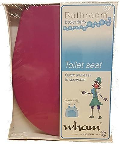 HOT PINK Plastic Soft Close Bathroom Toilet Seat Training Round Set by Wham