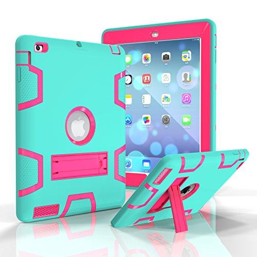 iPad 2/3/4Fall, dooge Drei Schichten PC & Silikon Armor Defender Heavy Duty Dämpfung Robuste Hybrid Full Body Schutzhülle mit Ständer für Apple iPad 2/iPad 3/iPad 4, Aqua+Hotpink