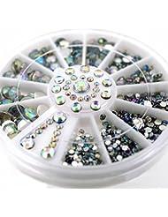 Phantomsky 3D Ongles Décor Strass Glitter en Acrylique Rhinestone Bricolage Roue - Diamants Colorés - Professionnel Art Décorations Mix Design Accessoires Décoration d'Ongle