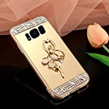 Coque Galaxy S8 Plus, Miroir Housse Coque Silicone TPU pour Samsung Galaxy S8 Plus, Surakey [Ballerine fille 360 Rotation Bague bâton support] Elegant Cool Bling Briller étincellement Coloré Diamond Rose Or Coque Effet Miroir Etui TPU Téléphone Coque Coquille de protection Flex Soft Gel en Caoutchouc Bumper Shockproof Anti Scratch Housse Rigid Back Cover pour Samsung Galaxy S8 Plus, Or