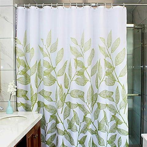 Manggou Rideau de douche en tissu motif feuilles, rideau de salle de bain en polyester imperméable, revêtement de douche décoratif avec 12 crochets, résistant à la moisissure, lavable en machine, 182,9x 182,9cm, vert