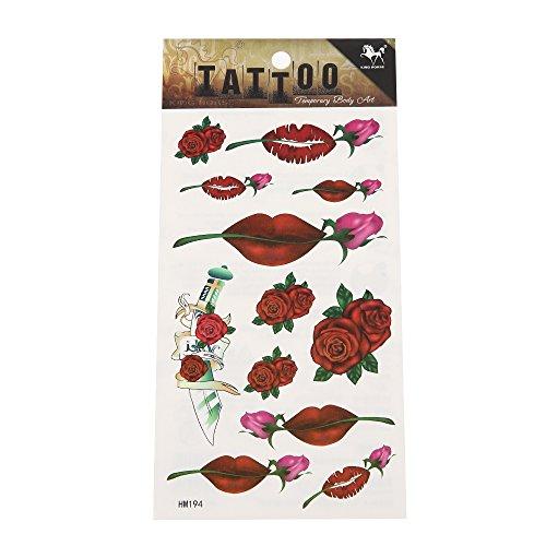 Preisvergleich Produktbild Klebe Tattoo Rosen rot pink Kussmund Lippen Mund Lippenstift 12 Motive 1 Bogen