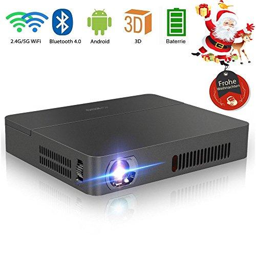 DLP Beamer HD mit 3D Android WIFI Bluetooth 2000 ANSI Lumen 12000:1 Kontrast unterstützt 1080p Mini Projektor mit USB HDMI VGA AV Audio Eingänge für PC Laptop Smartphone Android Phone iPad