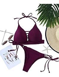 SOLYHUX Mujer Conjunto De Bikini Hater con Aberturas Y Cordones Laterales  de baño Bikini 91736a8fe12