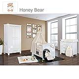 Babyzimmer Enni Hochglanz 19-tlg. mit 2 türigem Kl. + Textilien Honey Bear, Beige