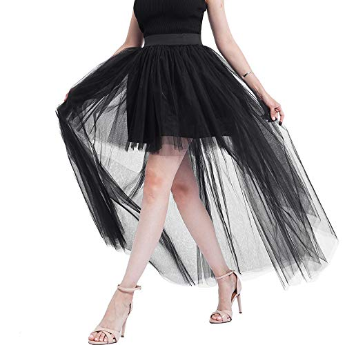 MYMYG Tüllrock Damen 50er Rockabilly Petticoat Vintage Frauen solide Mesh Tüll Rock Prinzessin Mesh Bubble Party Rock für Wedding Bridal Vintage Swing Oktoberfest Kleid
