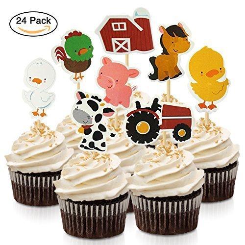 fishmm Tiere Zoo-Tiere-Cupcake-Dekoration Appetizer Dekoration mit 24, (Dekorationen Ente Party)