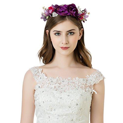 AWAYTR Blumen Stirnband Hochzeit Haarkranz Blume Krone (Lila)