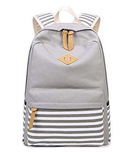 DNFC Schulrucksack Canvas Rucksack Mädchen Jungen Teenager Schulranzen Mode Kinderrucksack Daypack Backpack Schultaschen Damen Freizeitrucksack (Grau)