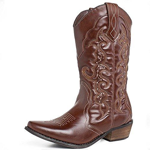 SheSole Damen Halbschaft Stiefel Braun 37 (Stiefel Braun Cowboy)