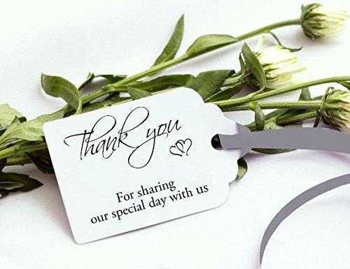 Bomboniere 50 etichette regalo, colore: argento, con scritta 'Thank You' per la condivisione