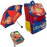 Kit Scuola 3 in 1 School Promo Pack Zaino Estensibile + Astuccio 3 Zip Accessoriato + Ombrello Salvaspazio Disney CARS Saetta McQueen Edizione Nuova