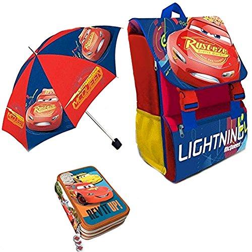 Kit Scuola 3 in 1 School Promo Pack Zaino Estensibile + Astuccio 3 Zip Accessoriato + Ombrello Salvaspazio Disney CARS Saetta...