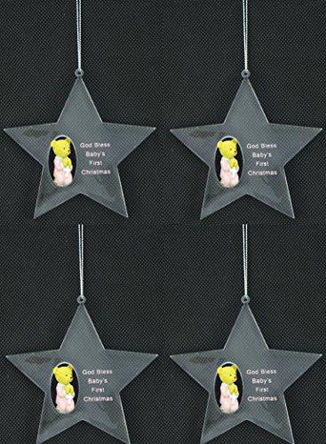 Premier Packung mit 4 Girls God Bless Babys erstes Weihnachten Sternförmiger Baumschmuck - Weihnachtsschmuck