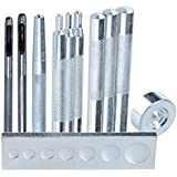 Malayas® 11pcs Lot de Rivet Maroquinerie Artisanat avec Base universel Pour Bouton de Rivet/DIY/Artisanat/Bricolage/Poinçon