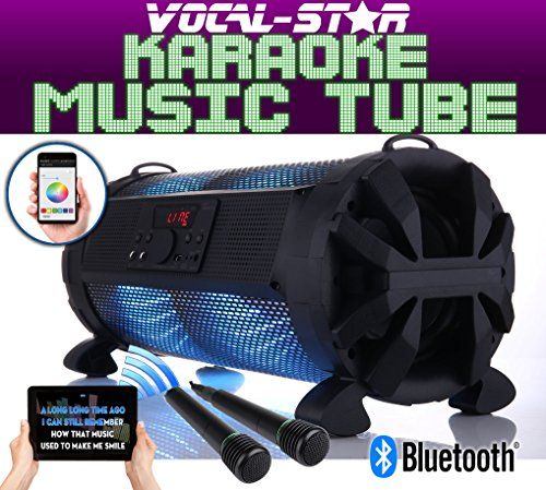 Vocal-Star Portable Bluetooth Karaoke Machine Speaker With Led Light Effects & 2 Microphone Inputs