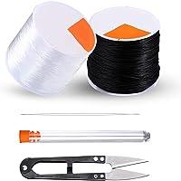 Codream 0,8 mm Cordons elastique pour braceletbijoux - 50 m noir et 50 m de fil extensible transparent pour fabrication…