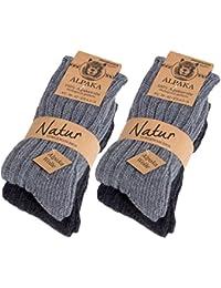 98b98338ff70d4 4 Paar BRUBAKER Alpaka Socken sehr dick flauschig und warm - 100% reine  Alpakawolle