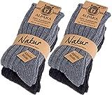 Brubaker 4 Paar dicke flauschige warme Alpaka Socken Grautöne 100% Alpaka 39-42