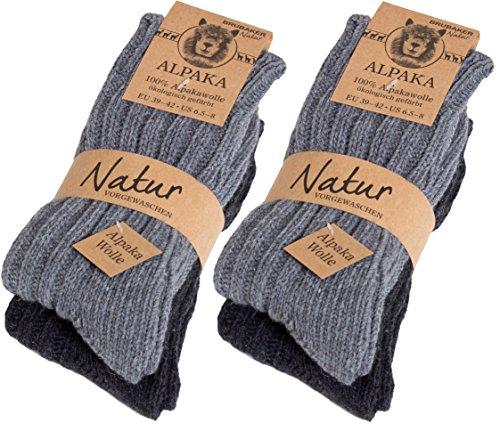 Brubaker 4 pares de calcetines de pura lana de alpaca - grises - tamaño 35/38