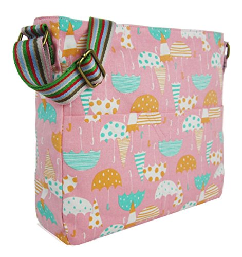 Kukubird Vari Animali Ancoraggio E Ombrello Crossbody Design Top-manico A Tracolla Del Totalizzatore Pink Umbrella