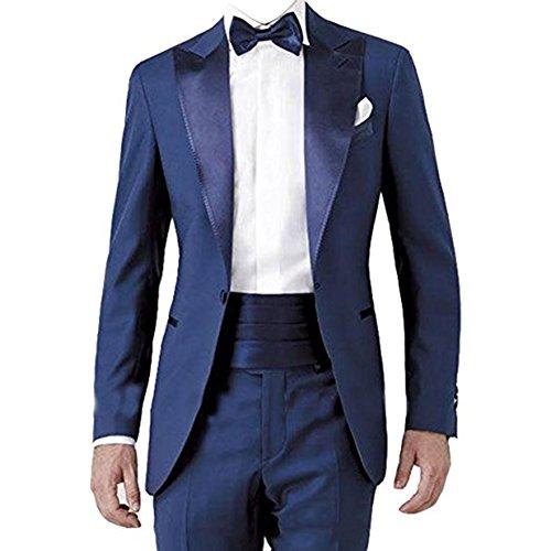 TPSAADE 2017 Italian Design Blue Herren Jacke Anzüge 2Pieces Bräutigam Männer Hochzeit Tuxedos Anzüge Kostüm Mariage Homme Jacke + Hosen + Fliege (M) (Homme Kostüm 2017)