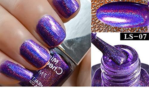 Cwemimifa Gel Nagellack Uv Led,Nagel-Effekt-Nagel-Puder No Polish Foil Nails Art Glitter Silver,LS-07