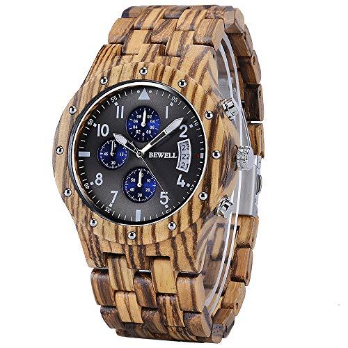 BEWELL Uhren Aus Holz Herrenuhr Chronograph Quarzwerk mit Holzarmband Datum Kalender Stoppuhr Rund Casual Holzkern Uhr für Herren (Braun)