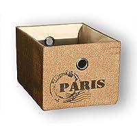 KMH®, Praktischer Schrankkorb *Traveller* 20 x 26 cm (Farbe: natur / Aufdruck: Paris) (#204123)
