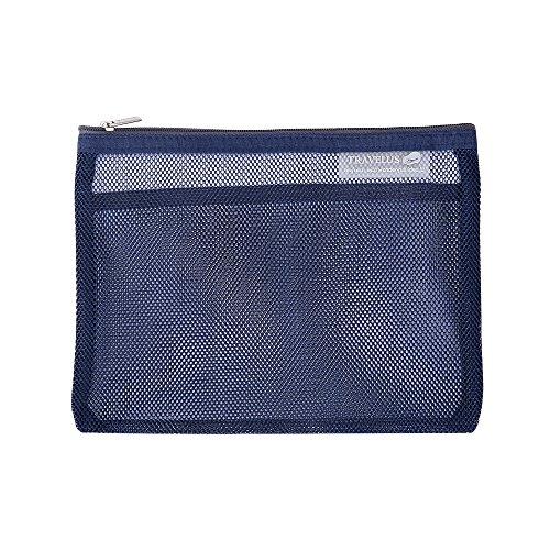 FuXing Mesh Aufbewahrungsbeutel Organizer Tasche Portable Multi-Purpose zum Bad, Sport & Outdoor Reise Kosmetik, Toilettenbeutel Beutel Antibakteriell, schnelltrocknend 8,66 * 7,1 'Zoll (Tiefes Blau)