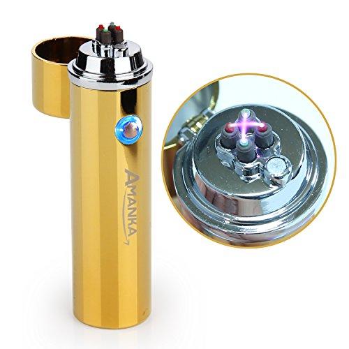 AMANKA Feuerzeug Plasma, Winddichtes Doppeltes USB-nachladbares elektronisches Feuerzeug-windundurchlässiges flammenloses Feuerzeug für Zigarre, Pfeife, Chillum UVM, Gold