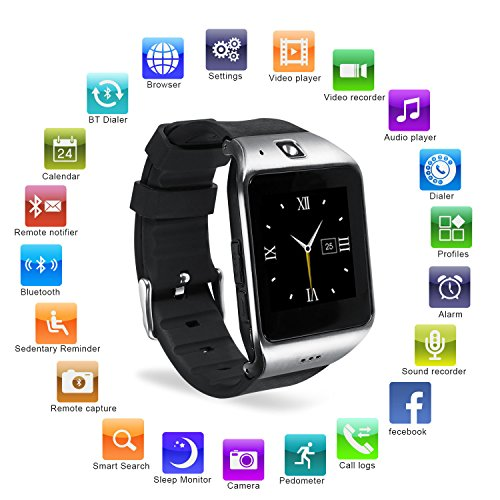 HAMSWAN Smartwatches, Bluetooth Smart Watch with Camera, Support SIM/SD/TF Card, Fitness Tracker...
