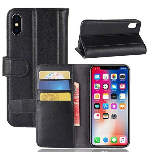 Étui en cuir véritable pour iPhone X 5.8'', Lifetrut Housse en cuir de cuir véritable en cuir véritable pour iPhone X 5.8'' [Marron] E201-Noir