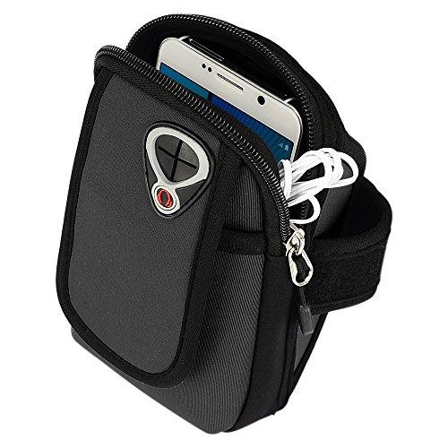 Premium Running Sport Gym Reißverschluss Sportarmband aus Neopren für Microsoft Lumia 950640XL/wileyfox Spark X/BLU Vivo 5R-4G LTE/Motorola Moto G4Plus/Moto Z Play/BLU Life Mark/HTC 10/BLU Vivo 6(schwarz) (Classic Blackberry Gold)