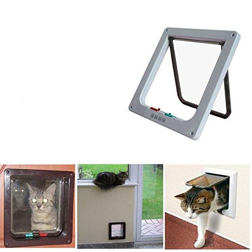 Wiiguda@ gattaiola porta basculante per cani gatti animali domestici con sistema a 4 vie(25cm* 23,5cm*5,3cm/9,8 inch*9,3inch*2inch)– bianco