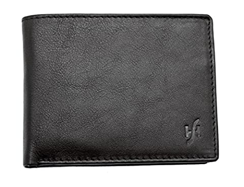 StarHide® Men's Wallet High Quality Soft Real Leather Wallets With Secure Zip Coin Pocket Purse - 110 (Black)