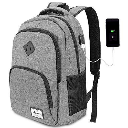 AUGUR Zaino Laptop, Zaion Porta PC Portatile da 15.6 Pollici Zaino Uomo Zaino Scuola con Porta USB,35L(Grigio)