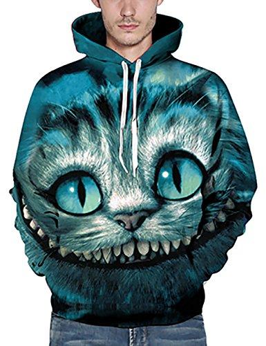 KamiraCoco Herren Kapuzenpullover 3D Druck Muster Hoodie Weihnachten Halloween Sweatshirt Pullover Variationen von Katzen