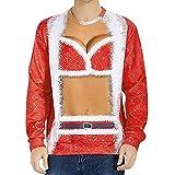 TianWlio Weihnachten Pullover Langarmshirt Bluse Hoodie Frauen Herbst Winter Liebt ' Lässig Herbst Winter Weihnachten 3D Drucken Lange Ärmel Top Sweatshirt (M, rot)