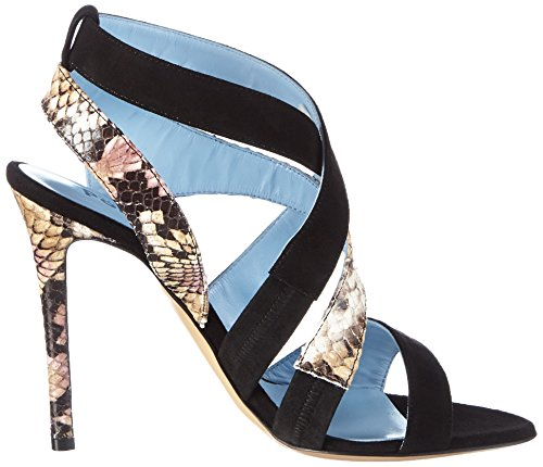 Pollini San.lod.moro105 Cam.nero/St.pt.nude, Sandales  Bout ouvert femme Mehrfarbig (00A BLACK SUEDE-NUDE PYTHON PRINTED GOAT)