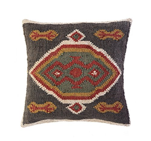 Jewel Fab Art Kissenbezug Indische Handarbeit Hand bevorstand Home Dekorative Kissen Sham Jute Wolle Kissenbezug, Quadratisch aus Indien -