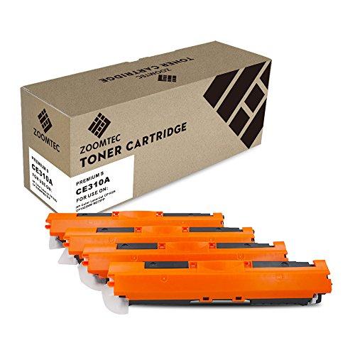 ZOOMTEC 4 Compatible con HP CE310A CE311A CE312A CE313A 126A Cartuchos de tóner para HP Colour Laserjet CP1025 CP1025nw CP1020 M175a M175nw Pro 100 M175 MFP M175a M175nw M275 TopShot M275 (4 Pack)