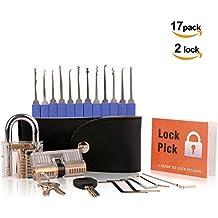 Pootack Lock Pick Set de Ganzúas 17 Piezas - Incluye Candado Transparente y Cerradura de Cilindro - Guía para Principiantes y Cerrajeros con una Funda de Cuero