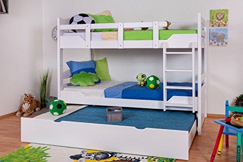 """Preisvergleich Produktbild Stockbett mit Bettkasten""""Easy Möbel"""" K3/h inkl. Liegeplatz und 2 Abdeckblenden, 90 x 200 cm Buche Vollholz massiv weiß lackiert, teilbar"""