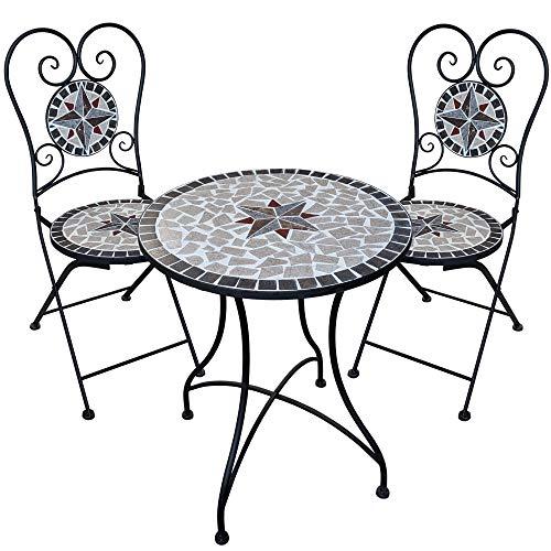 dszapaci Gartengarnitur Mosaiktisch 2 Stühle Mosaik Sitzgarnitur Bistrotisch Mit Stühlen Sitzgruppe Balkonset Balkonmöbel Balkontisch Mit Stühlen - 2 X 2 Mosaik