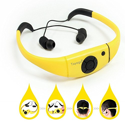 Wasserdichter Mp3 Musik Player Kopfh?rer, Tayogo 2016 Upgrade 8GB Headset zum Schwimmen, Surfen, Laufen, Tauchen-Gelb Tragbare Wasserdicht Mp3